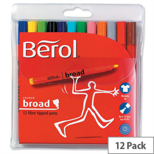 Berol Broad Colour Pen Assorted Washable Ink 1.7mm Line Wallet 12