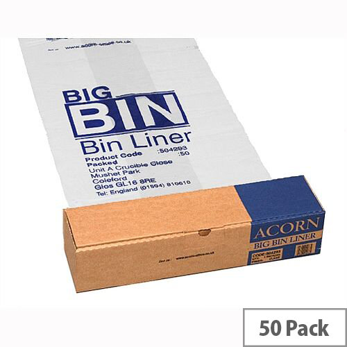 Acorn Twin Bin Heavy Duty Recycling Liner Clear Pack of 50. For Use In Conjunction With The Acorn Bin Range. Ideal For Effective Waste Separation In Schools, Offices, Colleges, Homes &More.