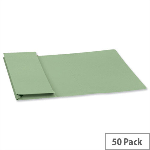 Guildhall Foolscap Document Wallet Green 315gsm Full Flap Pack of 50