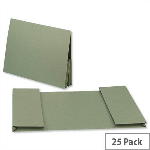 Guildhall Legal Wallet Double Pocket Manilla 2x35mm Foolscap Green Pack of 25