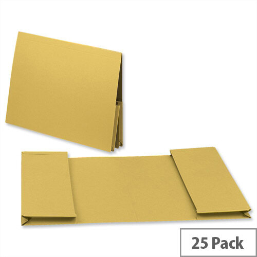 Guildhall Legal Wallet Double Pocket Manilla 2x35mm Foolscap Yellow Pack of 25
