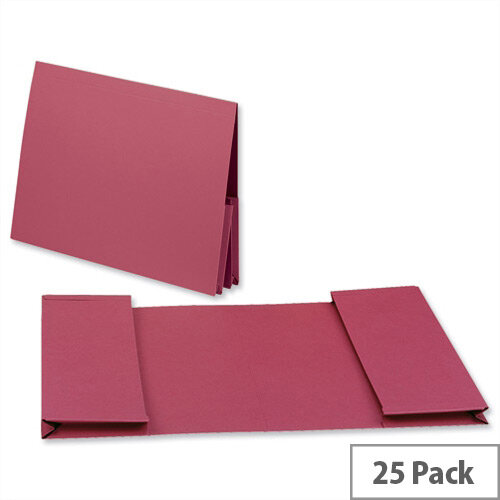 Legal Wallet Double Pocket Manilla 2x35mm Foolscap Red Pack 25 Guildhall