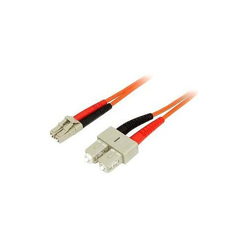 StarTech 2m Fiber Optic Cable Multimode Duplex 50/125 LSZH LC/SC OM2 LC to SC Fiber Patch Cable 2 x LC Male Network 2 x SC Male Network