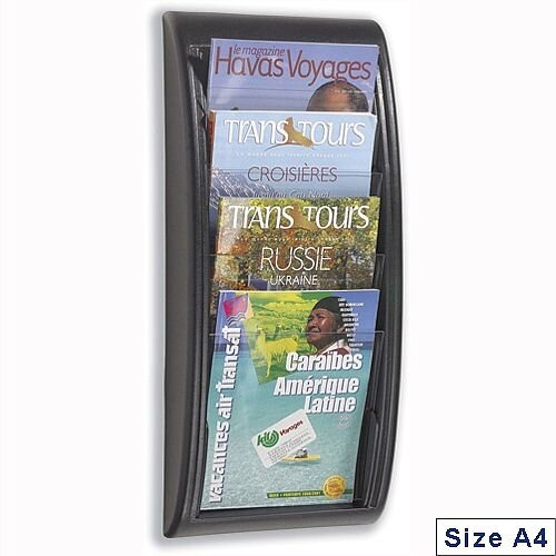 Quick Fit Literature Holder Wall Mount 4 x A4 Pockets Black