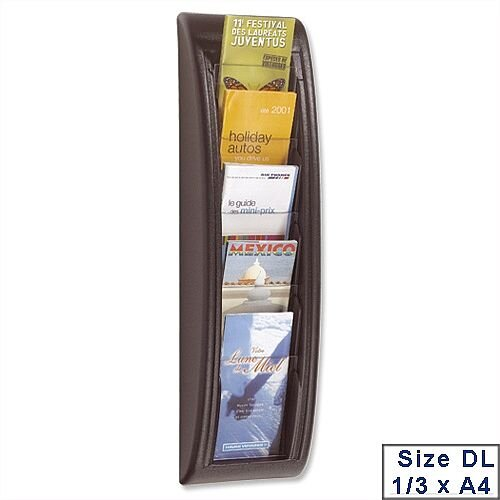 Quick Fit Literature Holder Wall-mount 5 DL Pockets 1/3xA4 Black