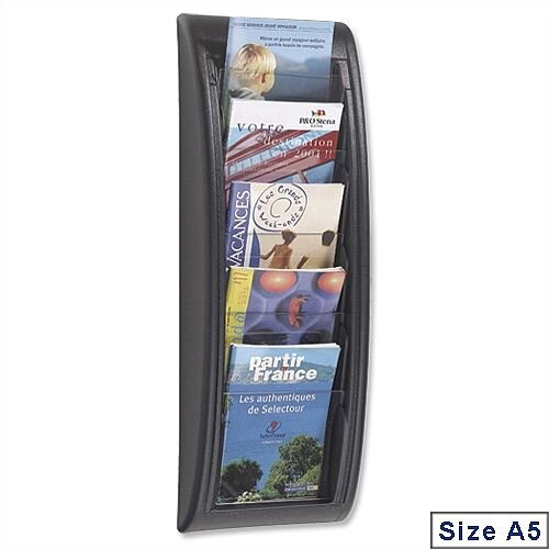 Quick Fit Literature Holder Wall-mount 5 x A5 Pockets Black