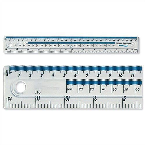 Plastic Ruler Shatter Resistant 30cm Blue Tint