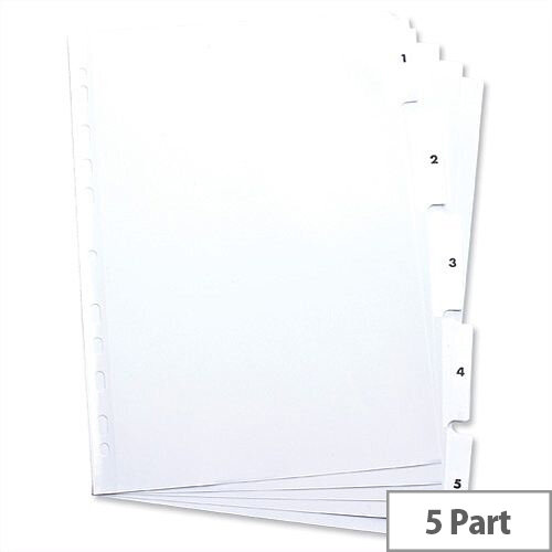 Elba Index Mylar-reinforced Europunched 1-5 Clear Tabs A4 White 100204623