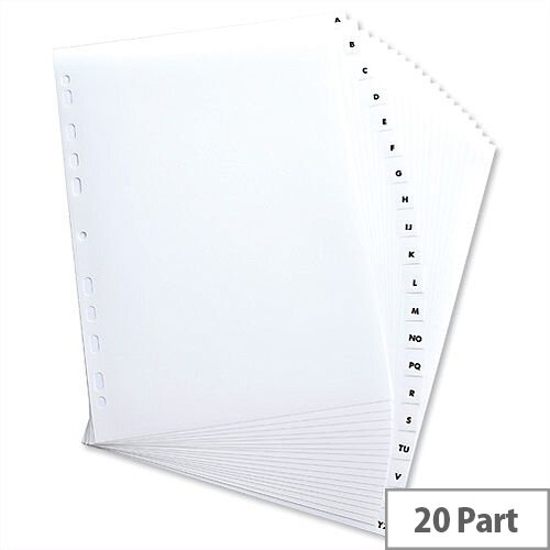 Elba Index Mylar-reinforced Europunched A-Z Clear Tabs A4 White 100204596