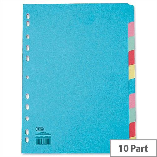 Elba 10 Part Dividers Euro Punched Assorted Colours