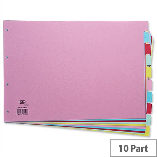 Elba A3 10 Part Divider Euro Punched Assorted