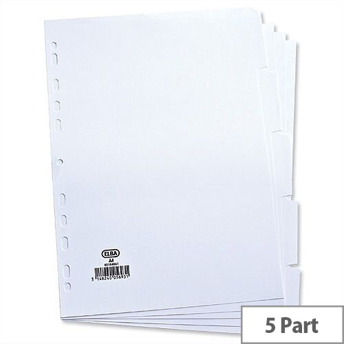 Elba Dividers Europunched 5-Part A4 White 100204880