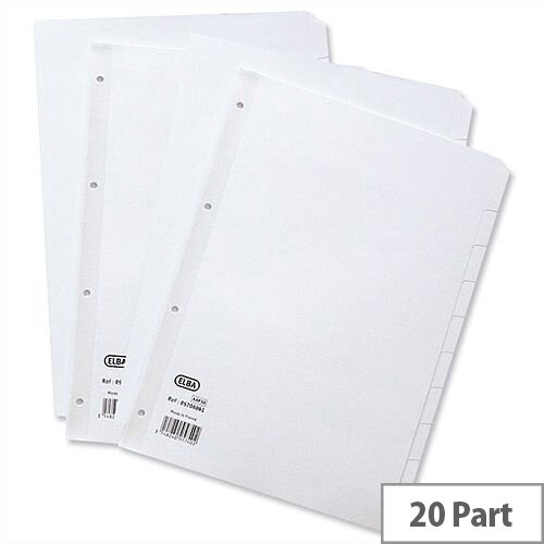 Elba Dividers Europunched 20-Part A4 White Subject Dividers 400007500