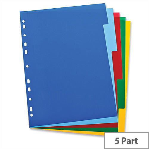 Elba Polypropylene Dividers Euro-Punched A4 5 Part Multicoloured – Pre-Printed, Highly Visible, Write-On, Colour-Coded, Suits All File Mechanisms &Long Lifespan (100205075)