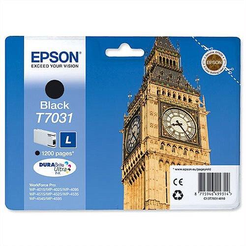 Epson T7031 Inkjet Cartridge Big Ben Page Life 1200pp Black C13T70314010
