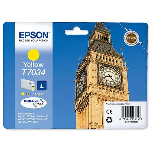 Epson Big Ben T7034 Yellow Ink Cartridge 800pp C13T70344010