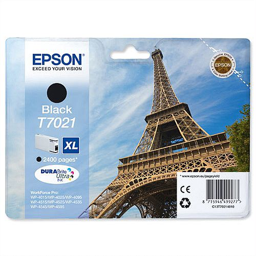 Epson T7021 Black Inkjet Cartridge Eiffel Tower XL High Capacity C13T70214010