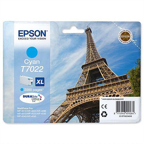 Epson T7022 High Capacity Cyan Inkjet Cartridge Eiffel Tower Series C13T70224010