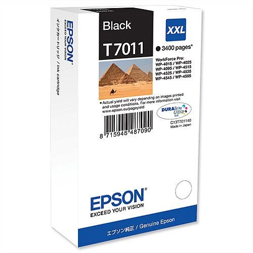Epson T7011 Inkjet Cartridge Extra High Capacity Page Life 3400pp Black Ref C13T70114010
