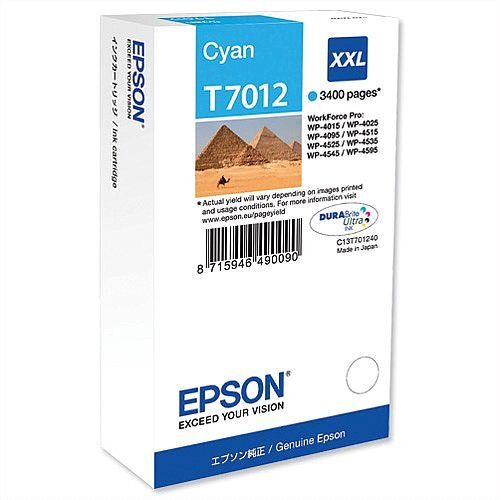 Epson T7012 Inkjet Cartridge Extra High Capacity Page Life 3400pp Cyan Ref C13T70124010