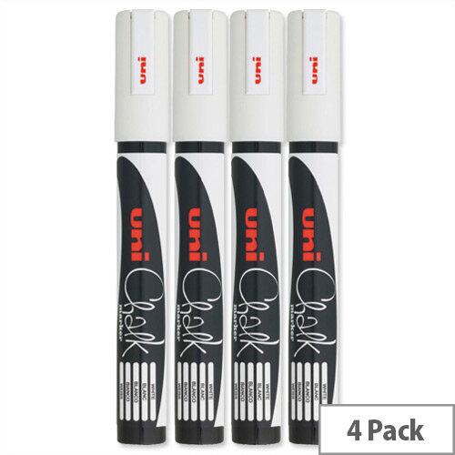 uni Chalk Marker Broad Bullet Tip PWE-5M Line Width 1.8-2.5mm White 5046731 Pack 4