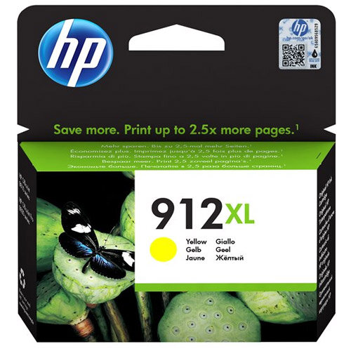 HP 912XL - 9.9 ml - High Yield - yellow - original - ink cartridge - for Officejet 8012, 8014, 8015; Officejet Pro 8022, 8024, 8025, 8035