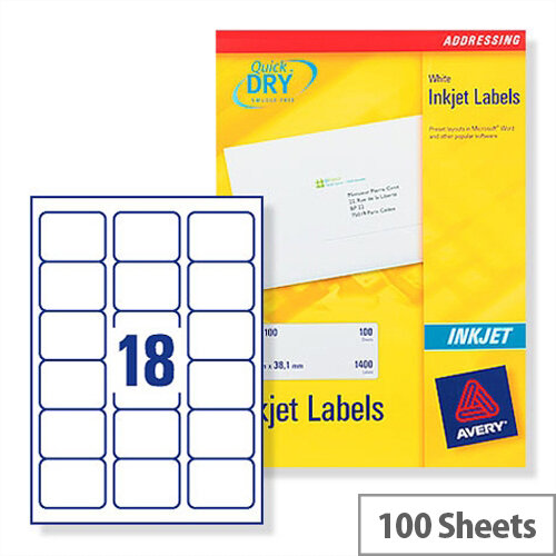 Avery Quickdry Inkjet Label 18 Per Sheet (Pack of 100)