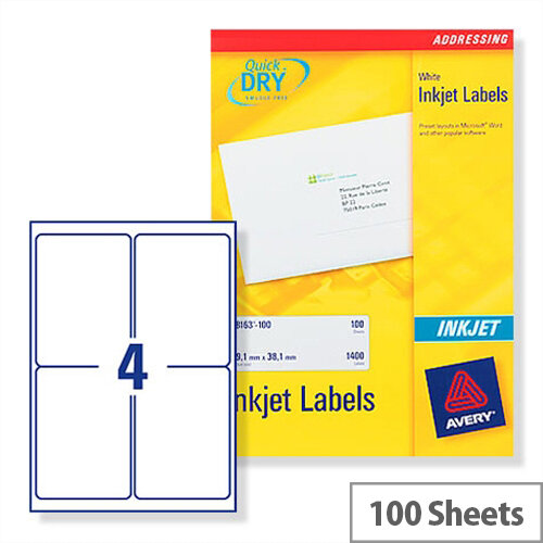 Avery Quickdry Inkjet Label 4 Per Sheet (Pack of 100)