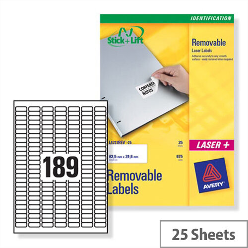 Avery L4731REV-25 Mini Laser Labels Removable 189 per Sheet 25.4x10mm White 4725 Labels