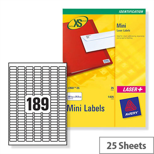 Avery J8658-25 Mini Labels Inkjet 189 per Sheet 25.4 x 10mm White 4725 Labels