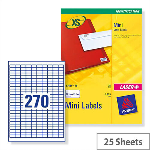 Avery J8659-25 Mini Labels Inkjet 17.8 x 10mm White 6750 Labels