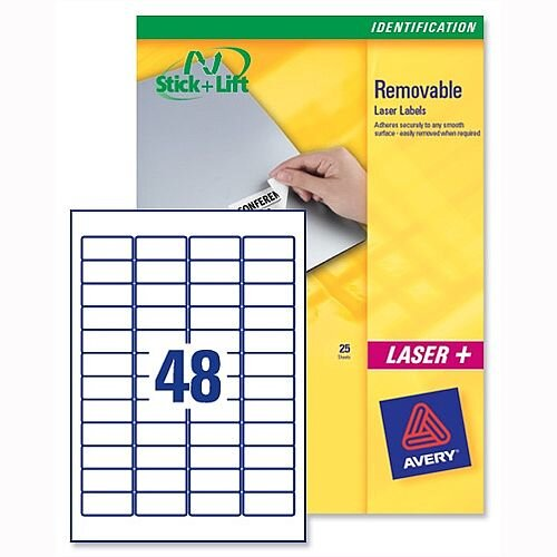 Avery L4736REV-25 Removable Laser Labels 48 per Sheet 45.7x21.2mm White 1200 Labels