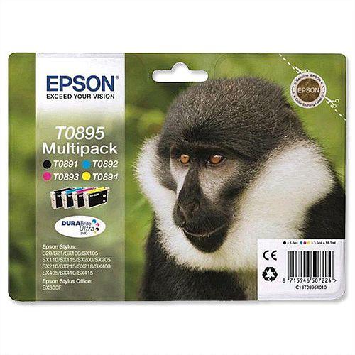 Epson T0895 4-Colour Ink Cartridge Black/Cyan/Magenta/Yellow Monkey Series C13T08954010