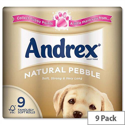 Andrex Natural Pebble Toilet Rolls Pack 9 Toilet Paper Rolls