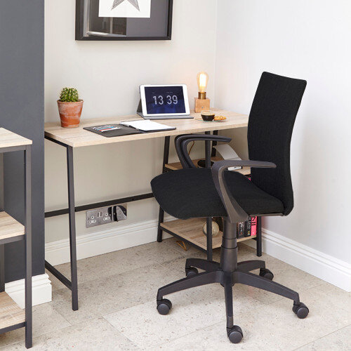 Home Office Bundle - Industrial Style Home Office Bench Desk in Charter Oak With Matching Bookcase &Black Work Fabric Modern Design High Back Office Chair