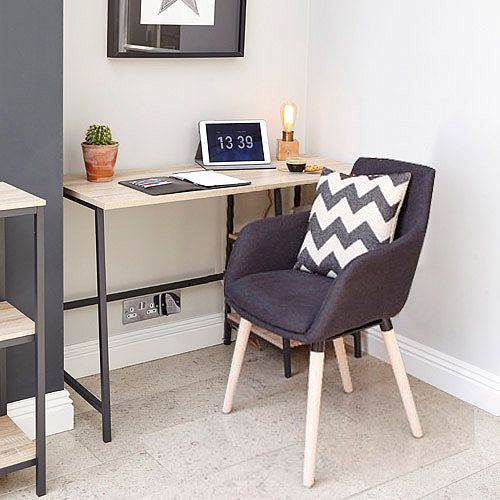 Home Office Bundle -Industrial Style Home Office Bench Desk in Charter Oak &Modern Designed 4 Legged Graphite Chair