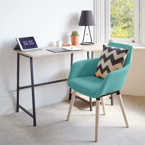 Home Office Bundle -Industrial Style Home Office Bench Desk in Charter Oak &Modern Designed 4 Legged Jade Chair