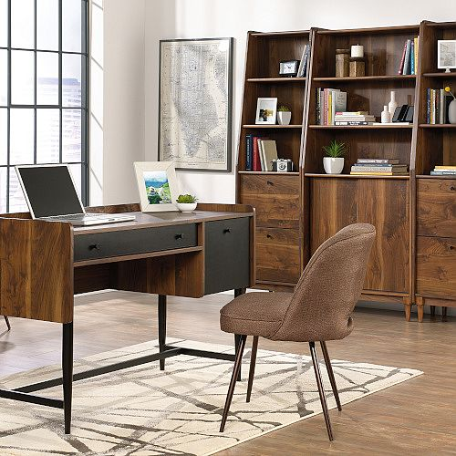 Home Office Bundle - Hampstead Park Home Office Furniture Set Grand Walnut includes Compact Desk, Storage Stand and Bookcase