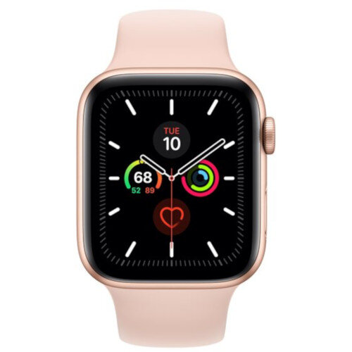 Apple Watch Series 5 (GPS) - 44 mm - gold aluminium - smart watch with sport band - fluoroelastomer - pink sand - band size 140-210 mm - S/M/L - 32 GB - Wi-Fi, Bluetooth - 36.5 g