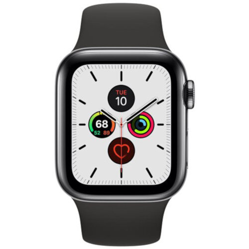 Apple Watch Series 5 (GPS + Cellular) - 40 mm - space black stainless steel - smart watch with milanese loop - steel mesh - space black - band size 130-180 mm - 32 GB - Wi-Fi, Bluetooth - 4G - 40.6 g