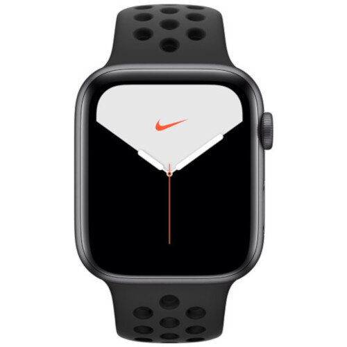 Apple Watch Nike Series 5 (GPS + Cellular) - 44 mm - space grey aluminium - smart watch with Nike sport band - fluoroelastomer - anthracite/black - band size 140-210 mm - S/M/L - 32 GB - Wi-Fi, Bluetooth - 4G - 36.5 g