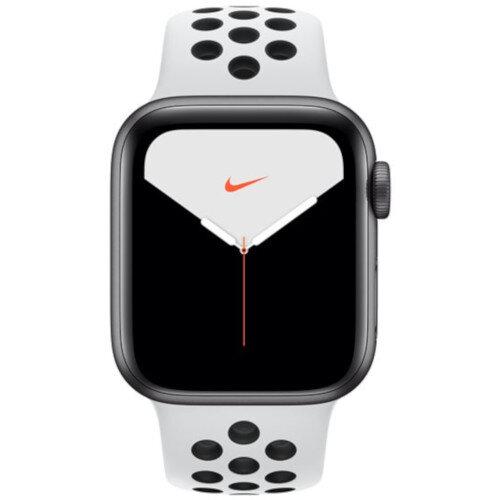 Apple Watch Nike Series 5 (GPS) - 40 mm - silver aluminium - smart watch with Nike sport band - fluoroelastomer - pure platinum/black - band size 130-200 mm - S/M/L - 32 GB - Wi-Fi, Bluetooth - 30.8 g