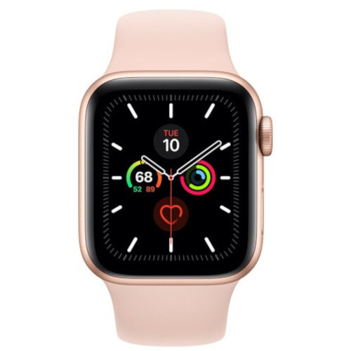 Apple Watch Series 5 (GPS) - 40 mm - gold aluminium - smart watch with sport band - fluoroelastomer - pink sand - band size 130-200 mm - S/M/L - 32 GB - Wi-Fi, Bluetooth - 30.8 g
