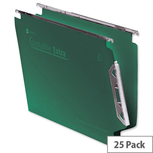 Rexel Crystalfile Extra Lateral 330mm Suspension File V-base 15mm Green Ref 3000121 Pack 25