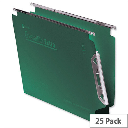 Rexel Crystalfile Extra Lateral 330mm Suspension File 30mm Wide Base Polypropylene Green Pack 25