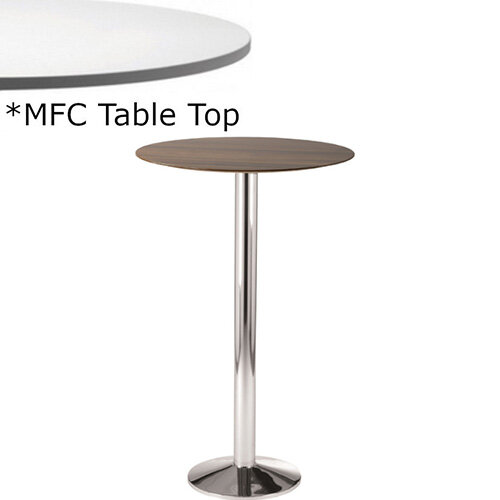 Frovi WEDGE Round Canteen Poseur Table With Chrome Base &MFC Top Dia600xH1100mm - Minimalist Design MFC Melamine Surface