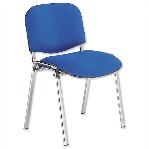 Fabric Upholstered Stacking Chair With Chrome Legs Blue