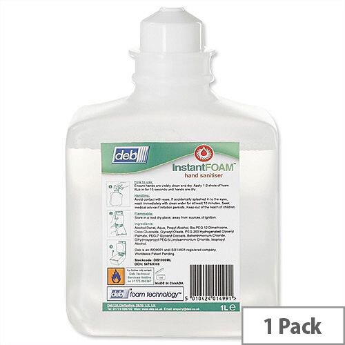 DEB Foam Hand Sanitiser Refill Cartridge 1 Litre (Pack 1) DIS1000ML