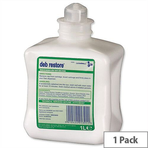DEB Hand Cream Refill Cartridge 1 Litre Restore After Work DRE39AD