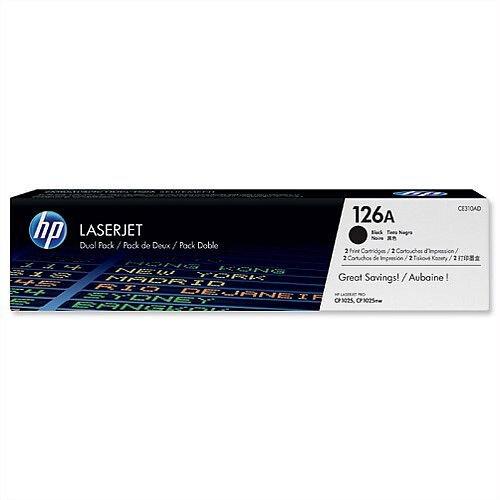 HP 126A Black Laser Toner Cartridge CE310AD Pack 2